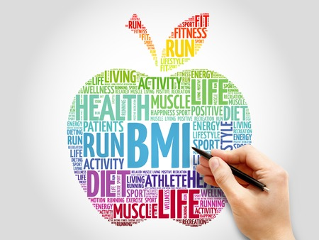 fractional: BMI - Body Mass Index, apple word cloud concept Stock Photo