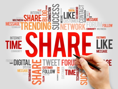 wiki: Share word cloud, business concept Stock Photo