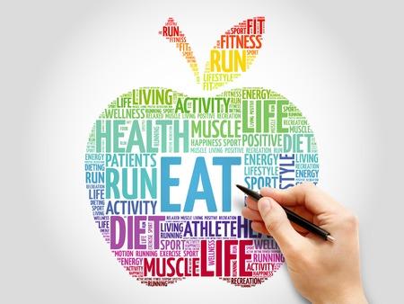 increase fruit: EAT apple word cloud concept