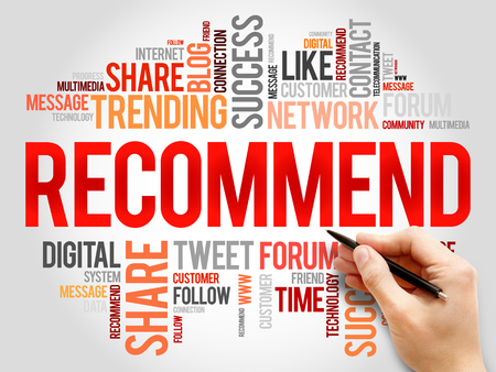 recommend: Recommend word cloud, business concept