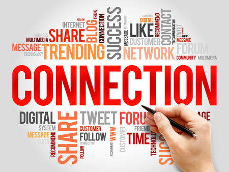 wiki: Connection word cloud, business concept Stock Photo