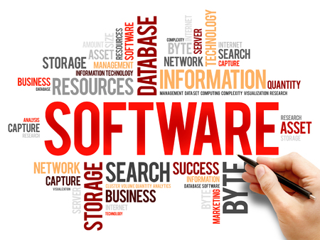 linker: Software word cloud, business concept Stock Photo