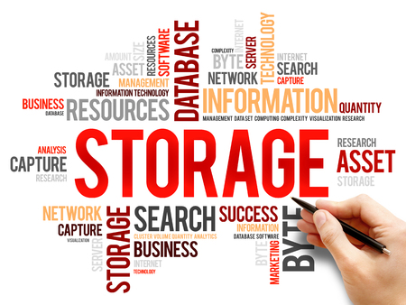 cloud tag: Storage word cloud, business concept Stock Photo