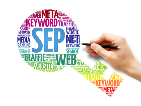 cloud search engine: SEP - Search Engine Positioning Key word cloud, business concept