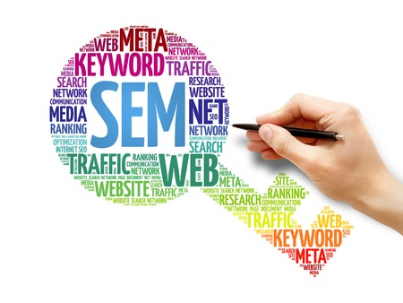 cloud search engine: SEM - Search Engine Marketing Key word cloud, business concept Stock Photo
