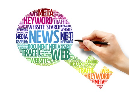 breaking the code: News Key word cloud, business concept