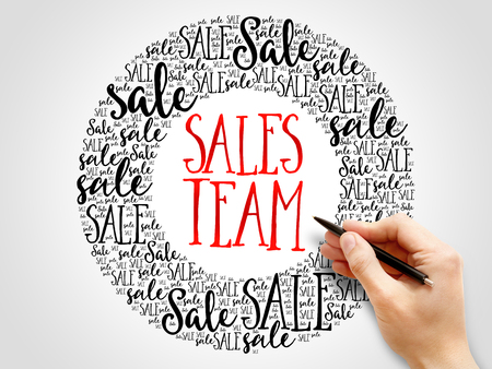 successful campaign: Sales Team words cloud, business concept background