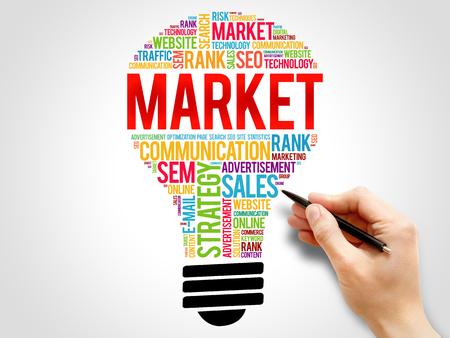 decoding: MARKET bulb word cloud, business concept Stock Photo