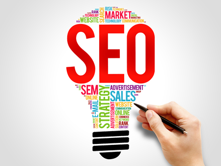 cloud search engine: SEO (search engine optimization) bulb word cloud, business concept Stock Photo
