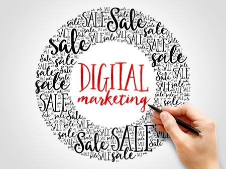 decoding: Digital Marketing words cloud, business concept background Stock Photo