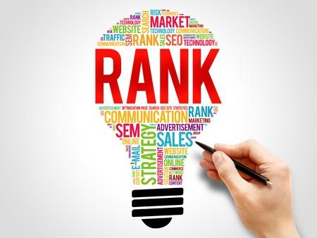 rank: RANK bulb word cloud, business concept