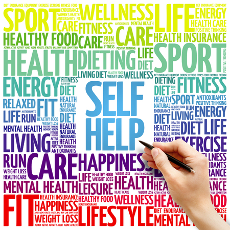 Self Help word cloud background, health concept Stock Photo