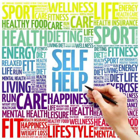 self help: Self Help word cloud background, health concept Stock Photo