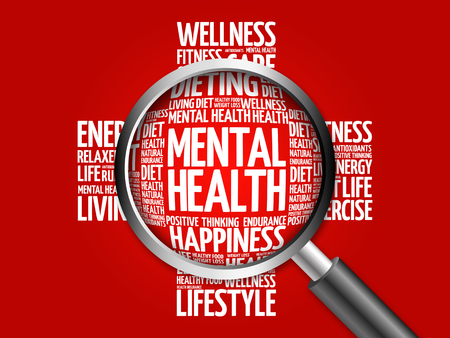 mentally ill: Mental health word cloud with magnifying glass, health concept Stock Photo