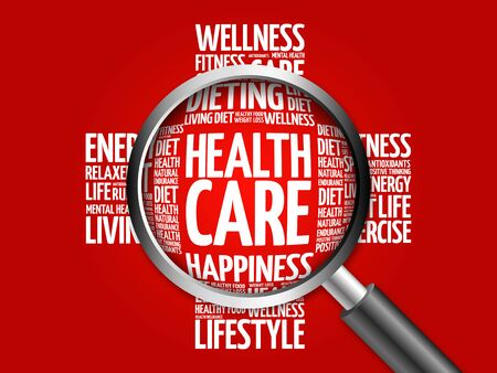 surgery costs: Health care word cloud with magnifying glass, health concept