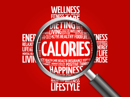 CALORIES word cloud with magnifying glass, health concept