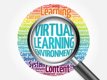 synchronous: Virtual Learning Environment word cloud with magnifying glass, business concept Stock Photo
