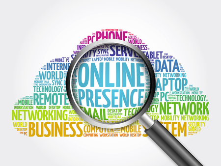 web presence internet presence: Online Presence word cloud with magnifying glass, business concept Stock Photo