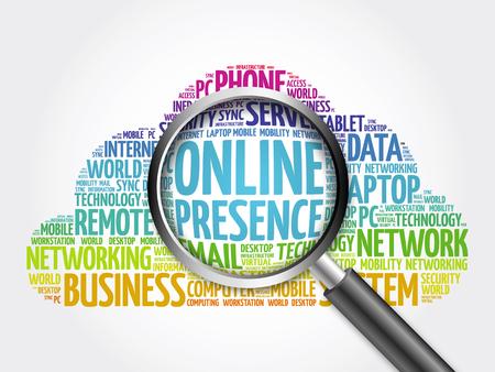 Presencia en línea nube de la palabra con la lupa, concepto de negocio Foto de archivo - 56866890