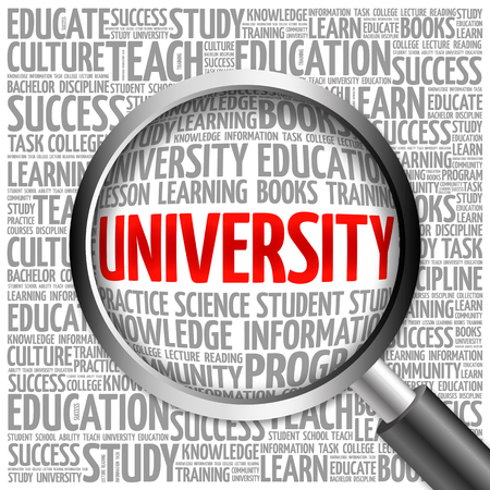 university word: UNIVERSITY word cloud with magnifying glass, concept Stock Photo