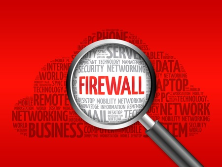 adware: FIREWALL word cloud with magnifying glass, business concept Stock Photo