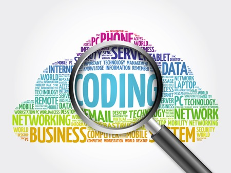 Coding word cloud with magnifying glass, business concept Stock Photo