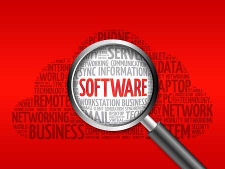 linker: Software word cloud with magnifying glass, business concept Stock Photo