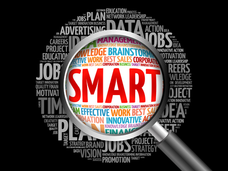 SMART word cloud with magnifying glass, business concept