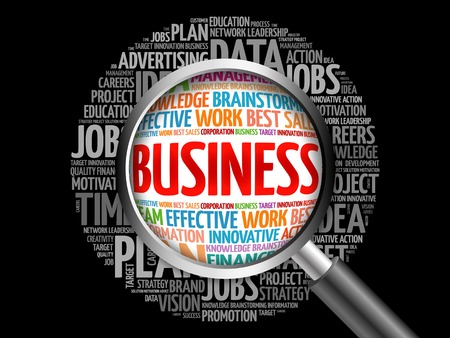 time critical: BUSINESS word cloud with magnifying glass, business concept
