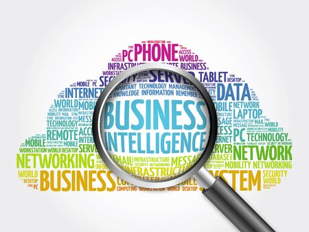 involves: Business Intelligence word cloud with magnifying glass, business concept Stock Photo