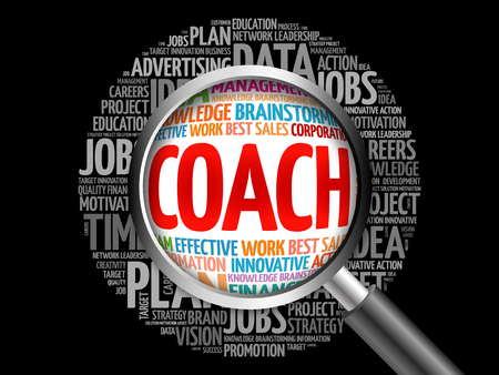mentors: Coach word cloud with magnifying glass, business concept Stock Photo