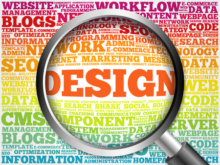 dynamic html: DESIGN word cloud with magnifying glass, business concept