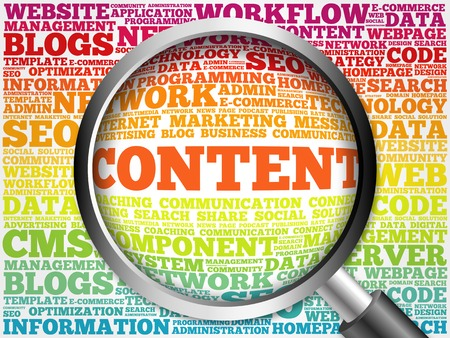 backlink: CONTENT word cloud with magnifying glass, business concept Stock Photo