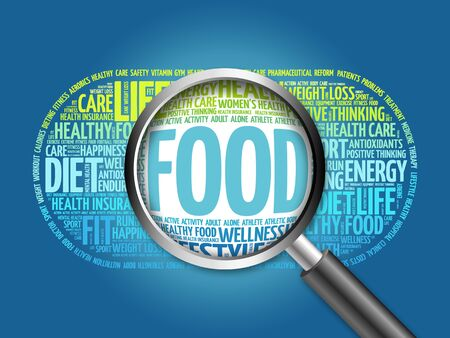 increase fruit: FOOD word cloud with magnifying glass, health concept