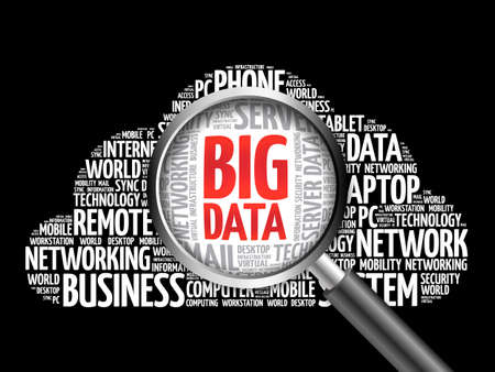 Big Data word cloud with magnifying glass, business concept Stock Photo