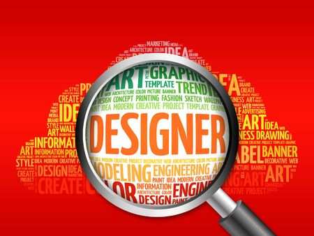 webdesigner: DESIGNER word cloud with magnifying glass, business concept Stock Photo