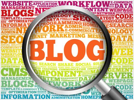 microblogging: BLOG word cloud with magnifying glass, business concept