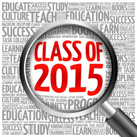 schoolroom: CLASS OF 2015 word cloud with magnifying glass, concept