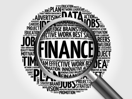 interst: FINANCE word cloud with magnifying glass, business concept
