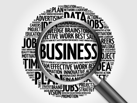 comply: BUSINESS word cloud with magnifying glass, business concept