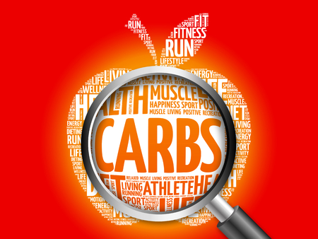 carbs: Carbs apple word cloud with magnifying glass, health concept