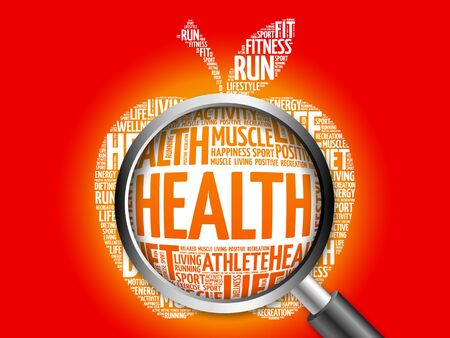 surgery expenses: Health apple word cloud with magnifying glass, health concept