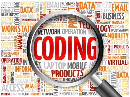 executable: Coding word cloud with magnifying glass, business concept Stock Photo