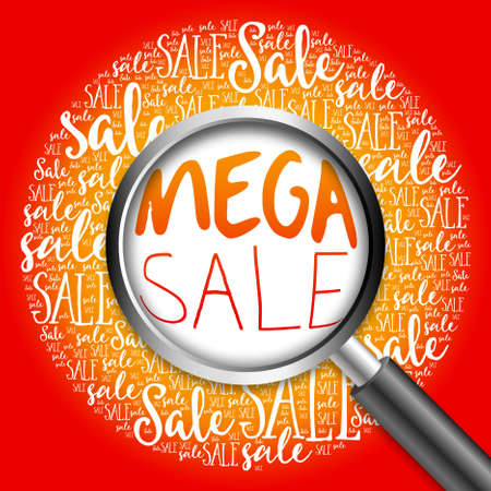 mega sale: MEGA SALE word cloud with magnifying glass, business concept