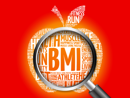 fractional: BMI - Body Mass Index, apple word cloud with magnifying glass, health concept