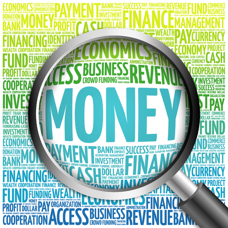 pecuniary: MONEY word cloud with magnifying glass, business concept