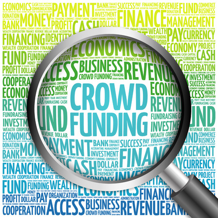 initiator: CROWD FUNDING word cloud with magnifying glass, business concept