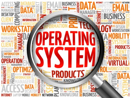 operating system: Operating System word cloud with magnifying glass, business concept