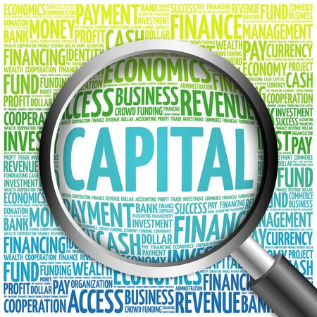 ownership and control: CAPITAL word cloud with magnifying glass, business concept Stock Photo