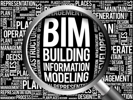 decisionmaking: BIM - building information modeling word cloud with magnifying glass, business concept
